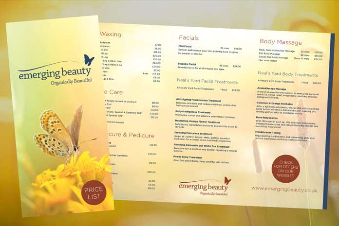 Emerging Beauty leaflet design by Amazing Creative