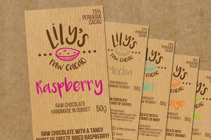 Lily\'s Raw Cacao packaging design by Amazing Creative